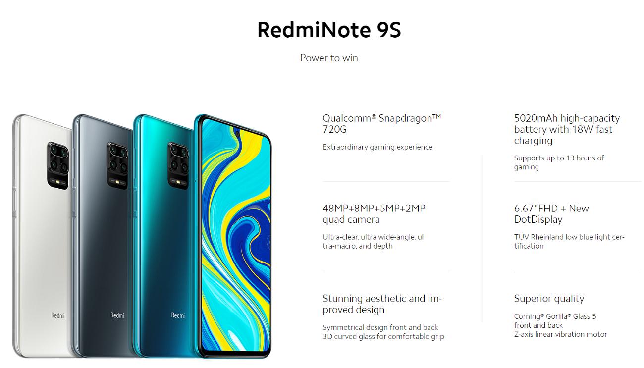 Redmi Note 9S Smartphone Quad Camera 6 GB+128 GB Version globale - Redmi -  Edwaybuy.com